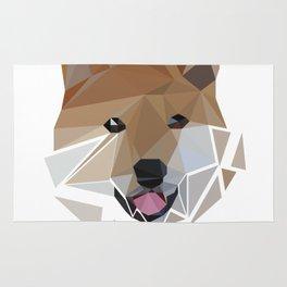 Low polygon shiba inu face Rug