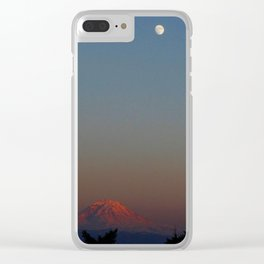 Mount Rainier Moon Rise Clear iPhone Case