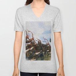 Medieval Army in Battle Unisex V-Neck
