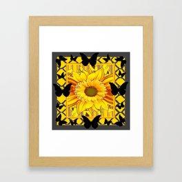 EBONY BUTTERFLIES YELLOW SUNFLOWER GREY ART Framed Art Print