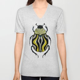 Cool Beetle With Stripes Ink Drawing In Grey Gold Black Unisex V-Neck