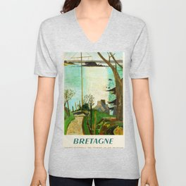 Bretagen Travel Poster Unisex V-Neck