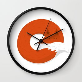 Sleepy Fox Wall Clock