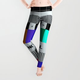 Glitched VHS screen seamless pattern Leggings