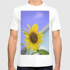 Summer Cottage Sunflower MEDIUM White Mens Fitted Tee