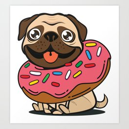 Pug & Donut Art Print