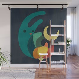 Rabbit and crescent moon Wall Mural