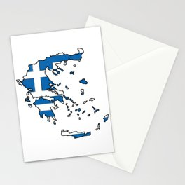 Greece Map with Greek Flag Stationery Cards