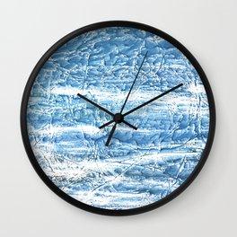 Steel blue nebulous watercolor texture Wall Clock