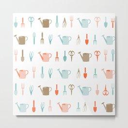 AFE Gardening Tools Pattern Metal Print