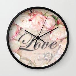 Shabby Chic Love Roses Romantic Decor Wall Clock