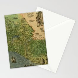Map Of Mexico 1595 Stationery Cards