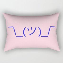Hands Up Emoji Shrug - Pink and Blue Rectangular Pillow