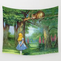 cheshire cat Wall Tapestries featuring Cheshire Cat by rapplatt