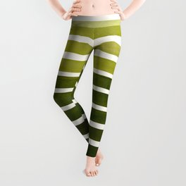 Watercolor Gouache Mid Century Modern Minimalist Colorful Olive Green Stripes Leggings