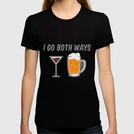 I Go Both Ways Wine Beer Drinking Alcohol Beer Wine Lover T-shirt