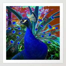 CHOCOLATE & BLUE PEACOCK FANTASY ART ABSTRACT Art Print