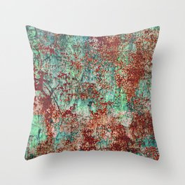 Abstract Rust on Turquoise Painting Throw Pillow