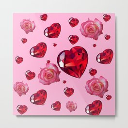PINK  ART RAINING ROSES RUBY RED VALENTINES HEARTS Metal Print