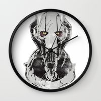 general Wall Clocks featuring General Grievous by Hey!Roger