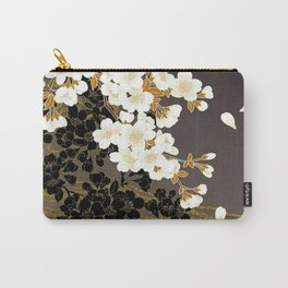 Japanese Sumi Black and White Cherry Blossom Carry-All Pouch