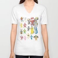 power rangers V-neck T-shirts featuring Mighty Melty Power Rangers by Josh Ln