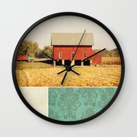 american beauty Wall Clocks featuring Heartland by Farmhouse Chic