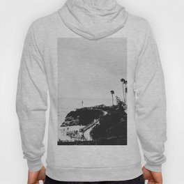 Laguna Beach | LoFi Black and White Relaxed Aesthetic Pink Sunset Palm Trees Hippie Ocean Waves Hoody