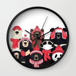 Bear family portrait: winter edition Wall Clock