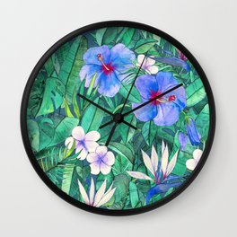 White Bird of Paradise & Blue Hibiscus Tropical Garden Wall Clock