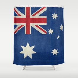 The National flag of Australia, retro textured version (authentic scale 1:2) Shower Curtain