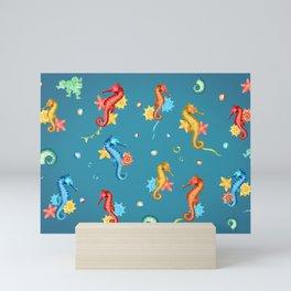 Seahorse Party Mini Art Print