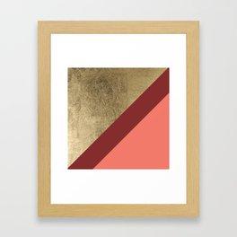 Modern gold foil burgundy peach color block geometric stripes pattern Framed Art Print