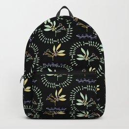 Black Green Natural Leaf Wreath Berry Branch Backpack