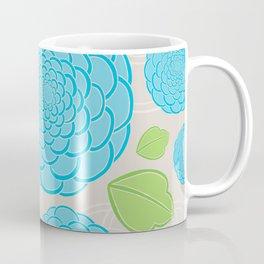 Blue Rose Flower Pattern Coffee Mug
