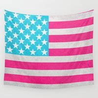 flag Wall Tapestries featuring USA Flag by M Studio