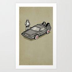 Stormtrooper and his Delorean Art Print