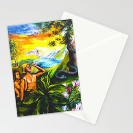 Adam and Eve in Garden of Eden Stationery Cards