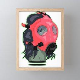 Floating Glowing Gas Mask Head Framed Mini Art Print
