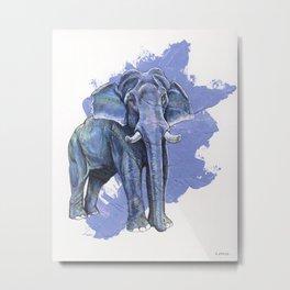 Purple Elephant Metal Print