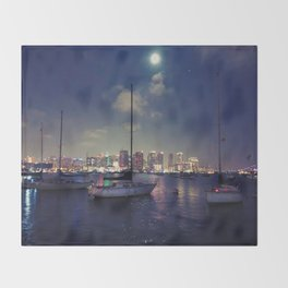 San Diego by Night - Oil Throw Blanket
