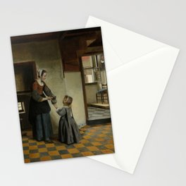 Pieter de Hooch - Woman with a Child in a Pantry Stationery Cards