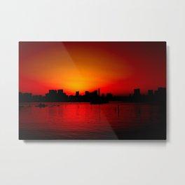 Tokyo Skyline Sunset Metal Print