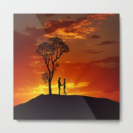 Sunset Silhouette Lovers Metal Print