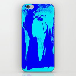 World Map Turquoise Blue iPhone Skin