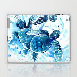 Three Sea Turtles, blue bathroom turtle artwork, Underwater Laptop & iPad Skin