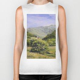 Pastures and Mount Mansfield Oil Landscape Vermont Painting Biker Tank