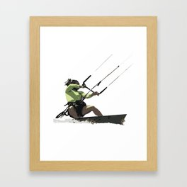 Going With The Wind Kiteboarding Vector Framed Art Print