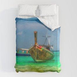 Thai Longboats Art Duvet Cover