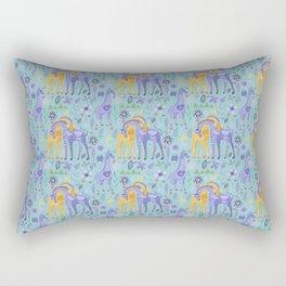 Cute Giraffes Teal and Purple Pattern Rectangular Pillow